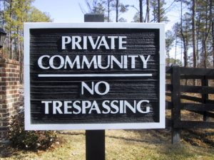 Private Community, No Trespassing Signs